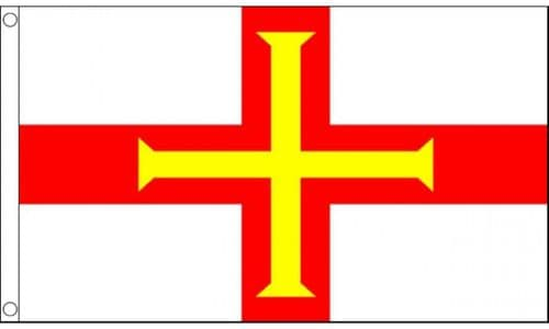Guernsey Flag 5ft x 3ft Metal Eyelets Double Stitched 75D 100% Polyester Flags